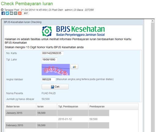 Mengetahui Tunggakan BPJS Secara Online